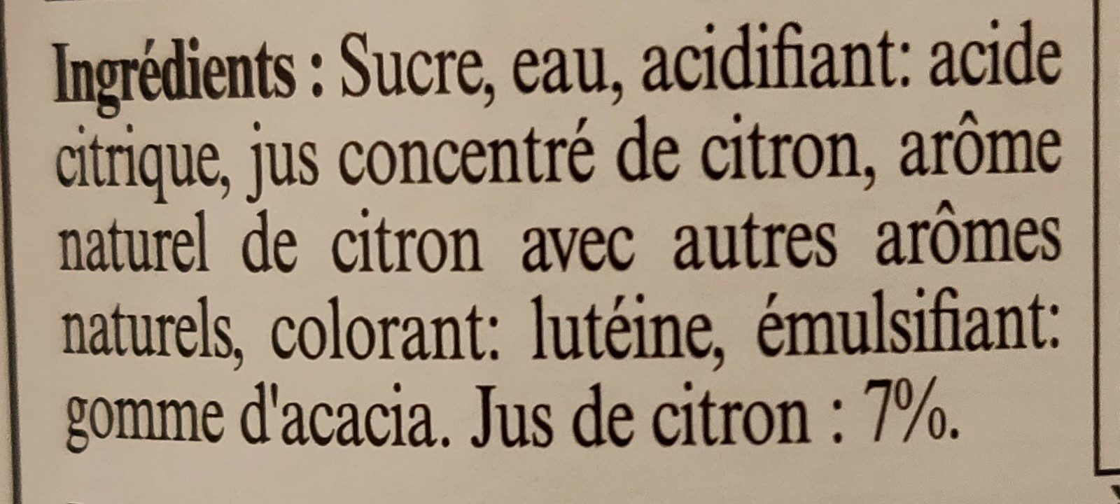 Sirop de citron jaune de Sicile - Ingredients