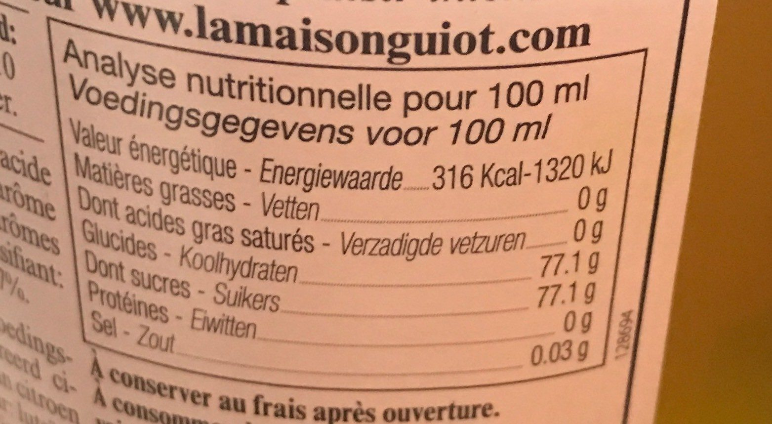 Sirop de citron jaune de Sicile - Nutrition facts