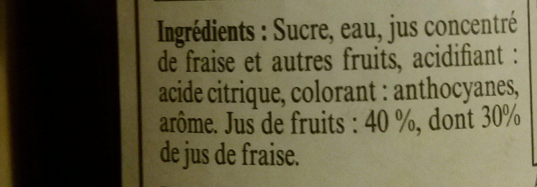 Sirop de fraise - Ingrédients - fr