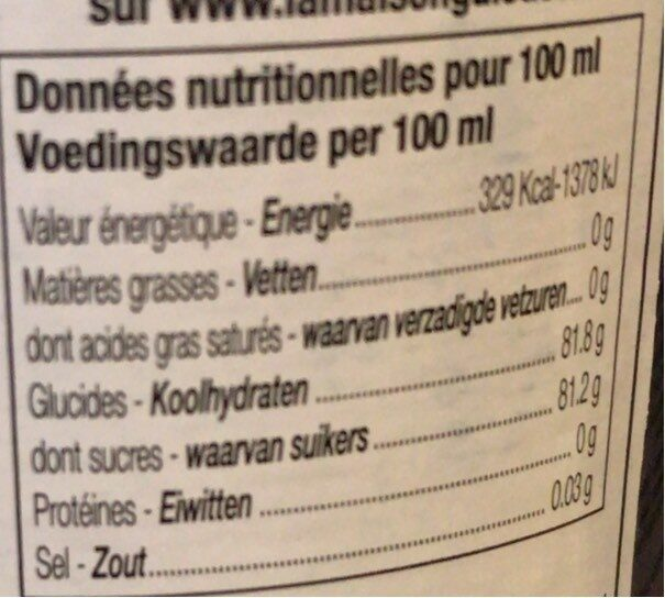 Sirop de fraise - Informations nutritionnelles - fr