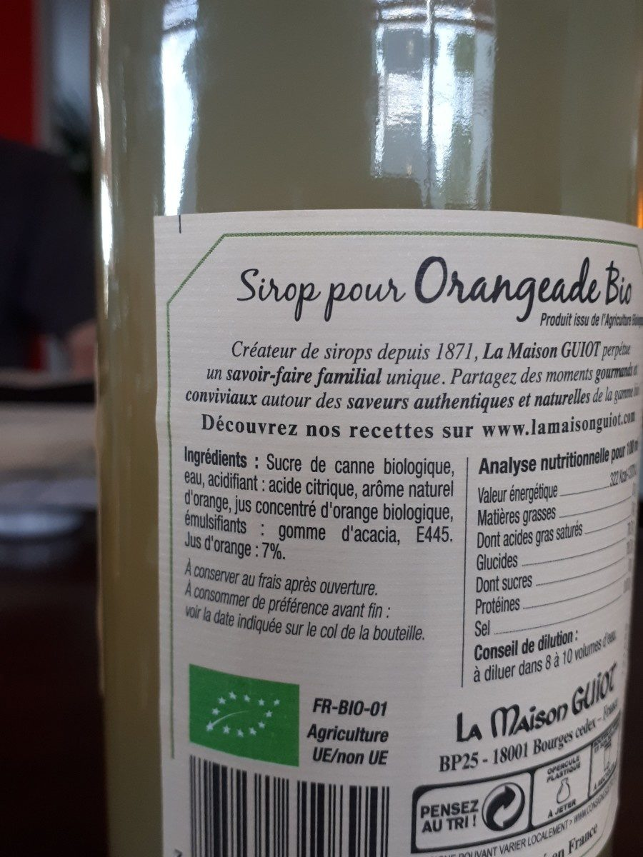 Sirop pour Oreangeade Bio - Ingredients