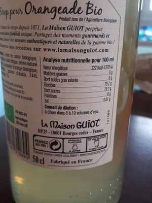 Sirop pour Oreangeade Bio - Nutrition facts