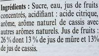 La Maison Guiot Sirop de mûre et Cassis - Ingrédients - fr