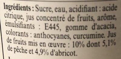 La Maison Guiot sirop pêche abricot - Ingredients