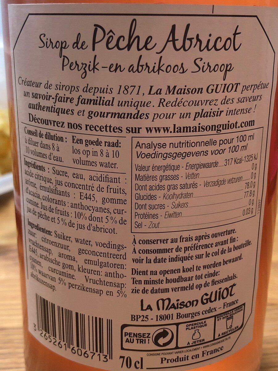 La Maison Guiot sirop pêche abricot - Nutrition facts - fr