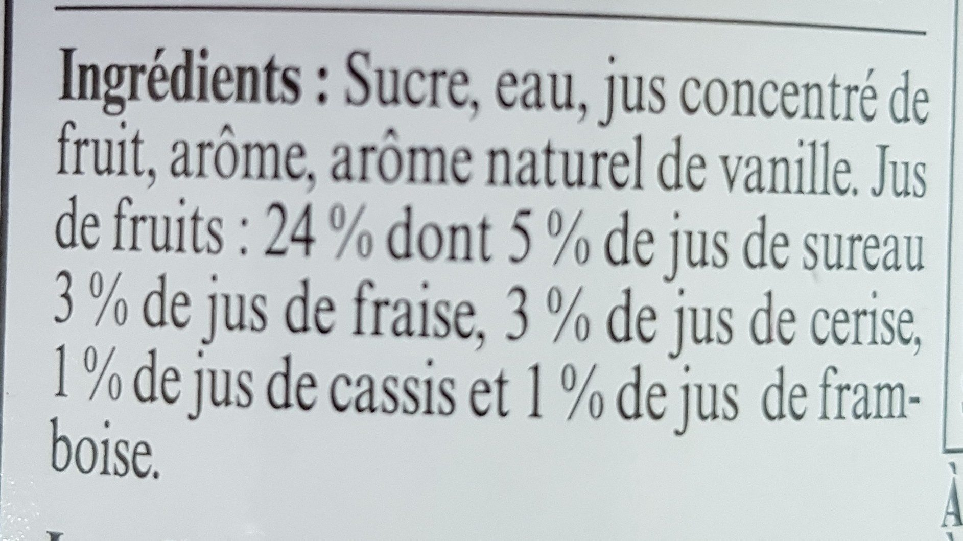 Sirop de grenadine - Ingrédients