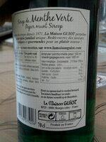 Sirop de menthe verte - 栄養成分表 - fr