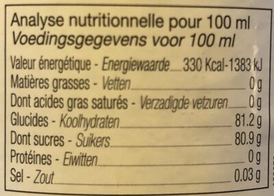 Sirop de cassis - Nutrition facts - fr