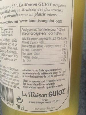 Sirop de citron vert - Informations nutritionnelles