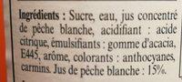 Sirop de Pêche blanche - Ingrédients - fr