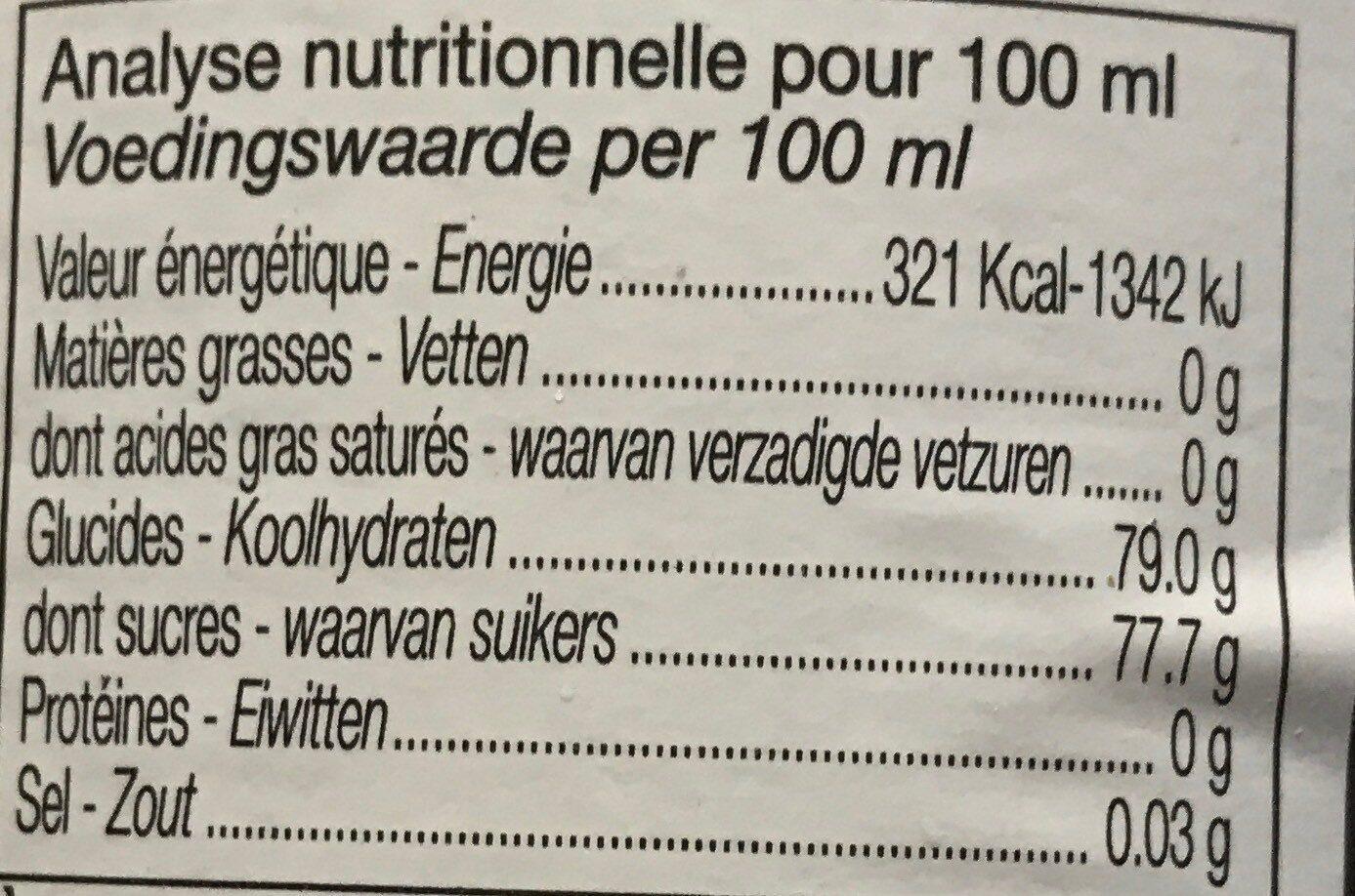 Sirop de Pêche blanche - Informations nutritionnelles - fr