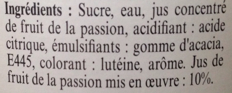 Sirop Fruit de la Passion - Ingrédients