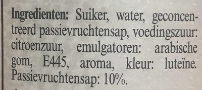 Sirop Fruit de la Passion - Ingrediënten - nl