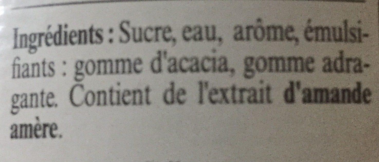 Sirop d'orgeat - Ingrédients