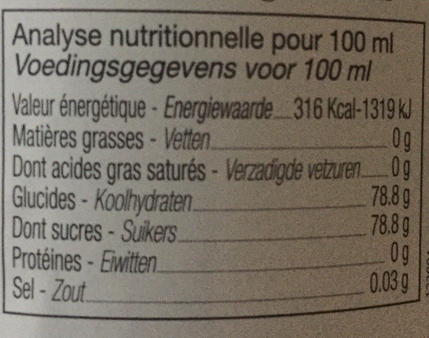 Sirop d'orgeat - Informations nutritionnelles