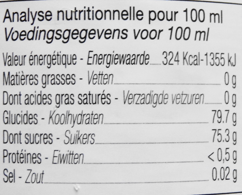 Sirop de cerise griotte - Nutrition facts