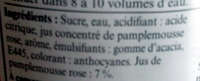 Sirop de pamplemousse rose - Ingredienti - fr