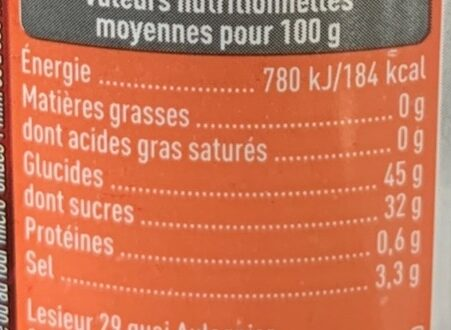 Sauce Barbecue - Nutrition facts