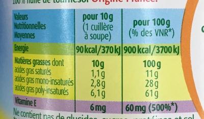 Coeur de Tournesol (+20% gratuit) - Nutrition facts - fr