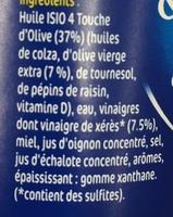 Vinaigrette légère Isio 4 Huile d'Olive & Vinaigre de Xérès - Ingrédients