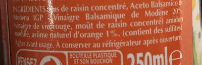 Douceur de Balsamique Orange - Ingredients