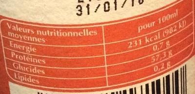 Douceur de Balsamique Orange - Nutrition facts