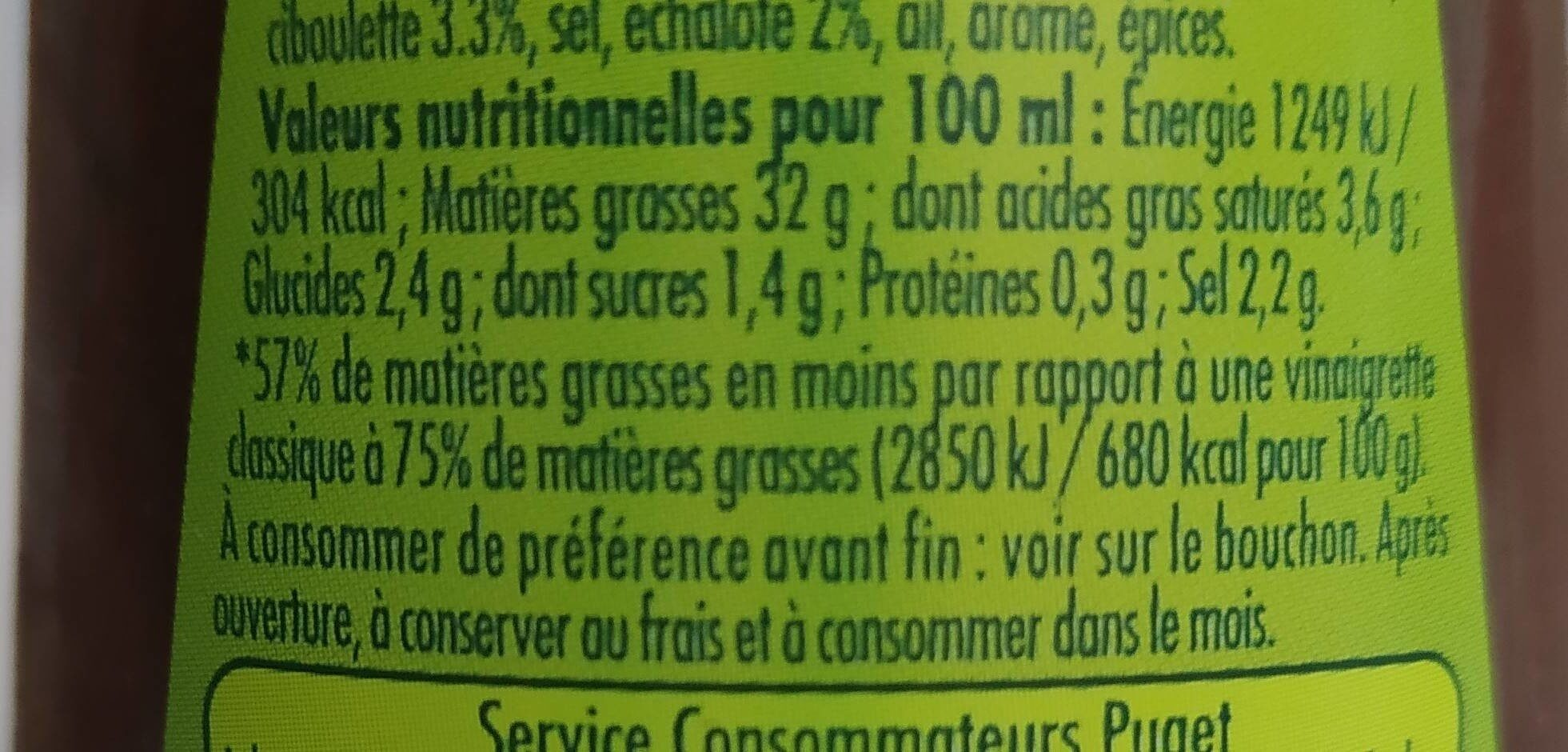 Vinaigrette balsamique huile d'olive - Nutrition facts - fr