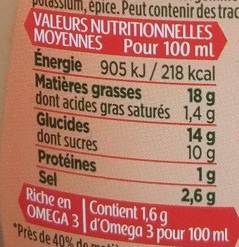 sauce crudités cocktail légère - Voedigswaarden