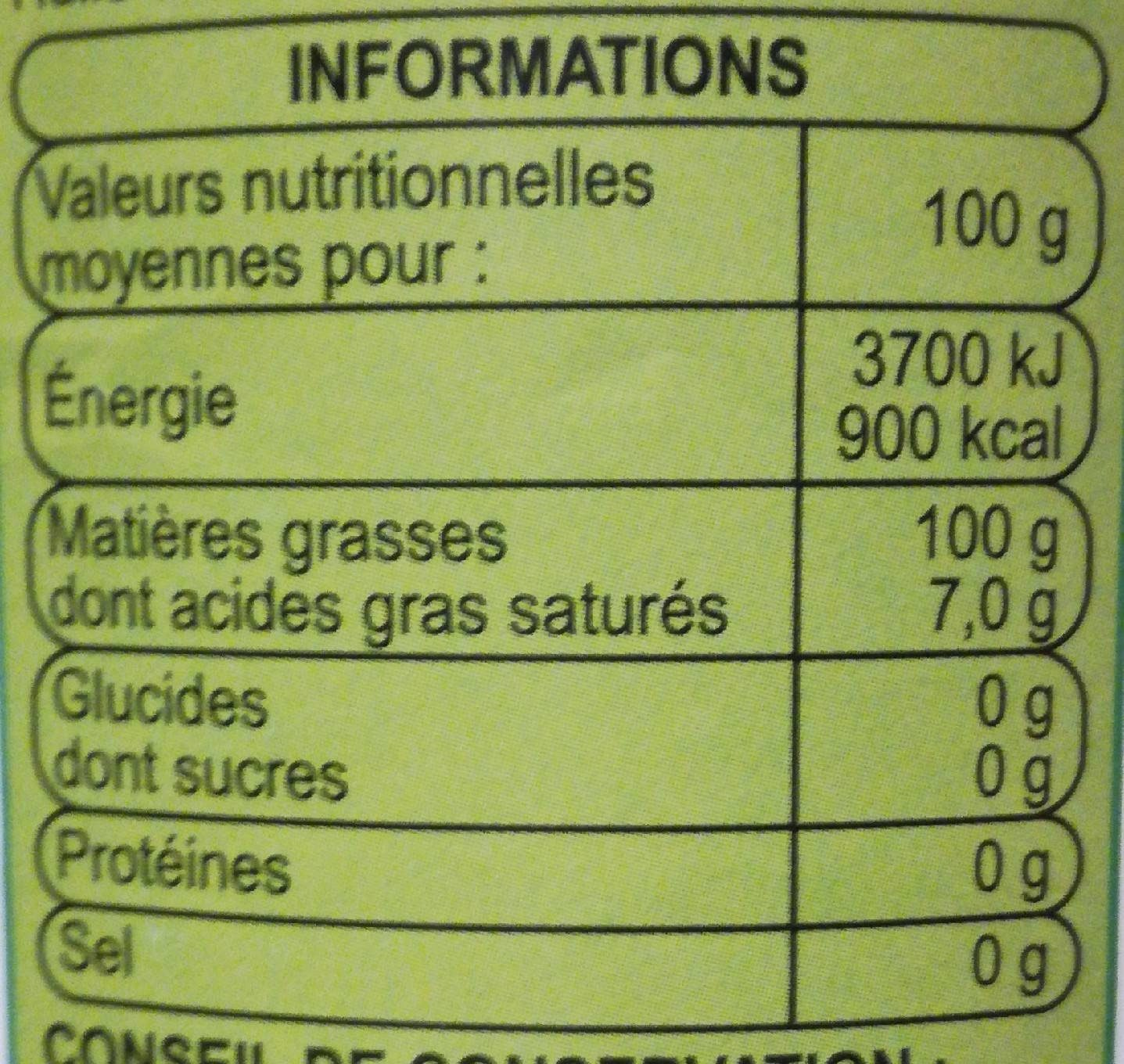 huile colza information nutritionnelle