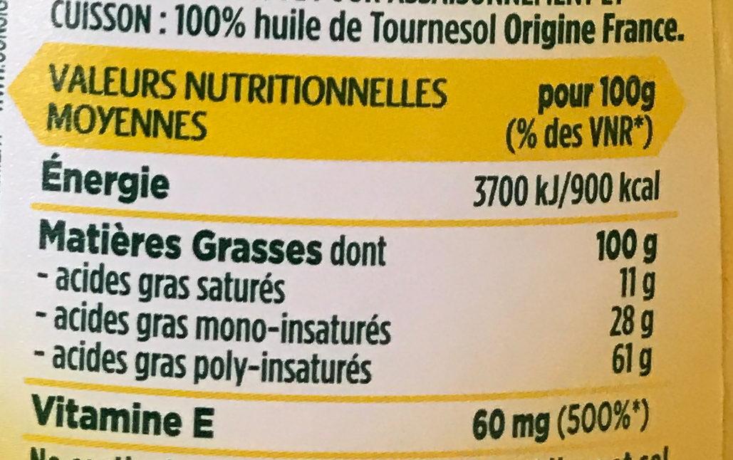 Coeur de Tournesol stop goutte (offre saisonnière) - Nutrition facts