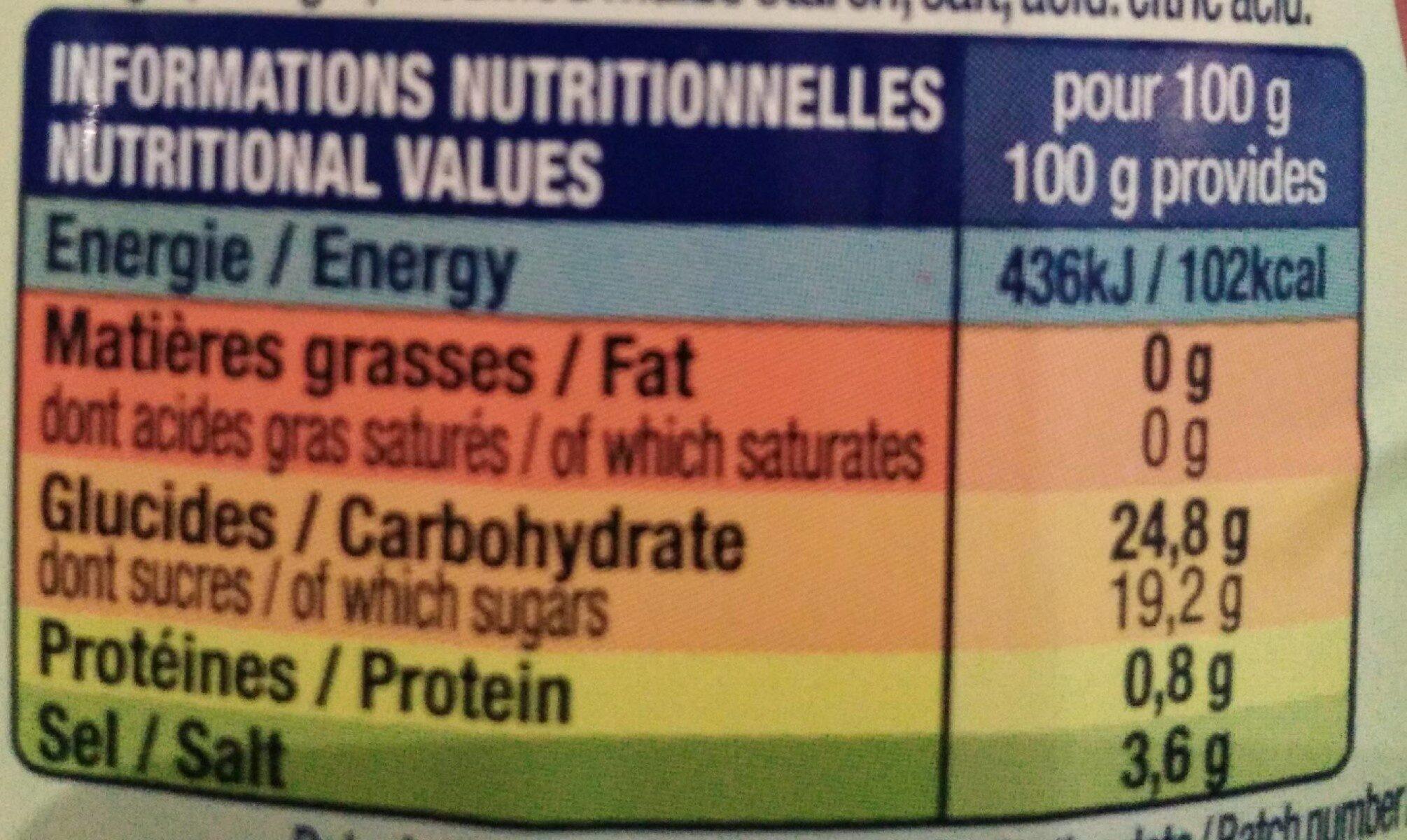 Le KETCHUP - Informations nutritionnelles - fr