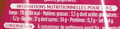 Sauce Aigre Douce Poivrons et Ananas - Informations nutritionnelles