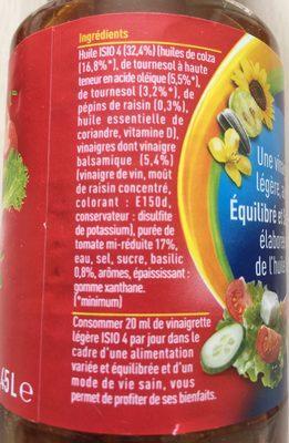 Vinaigrette tomate basilic - Ingrédients