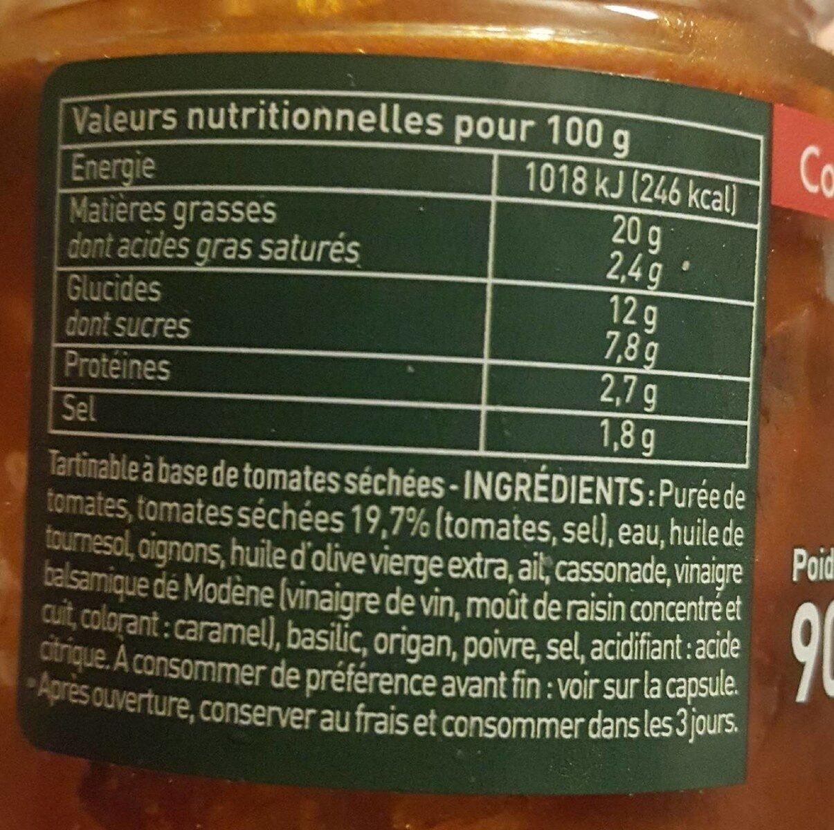 Confit de tomates sèchées - Informations nutritionnelles - fr