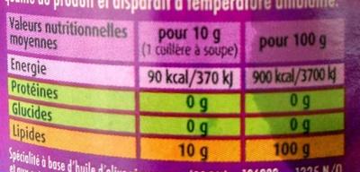Huile d'olive vierge extra aux extraits naturels d'herbes de provence - Nutrition facts