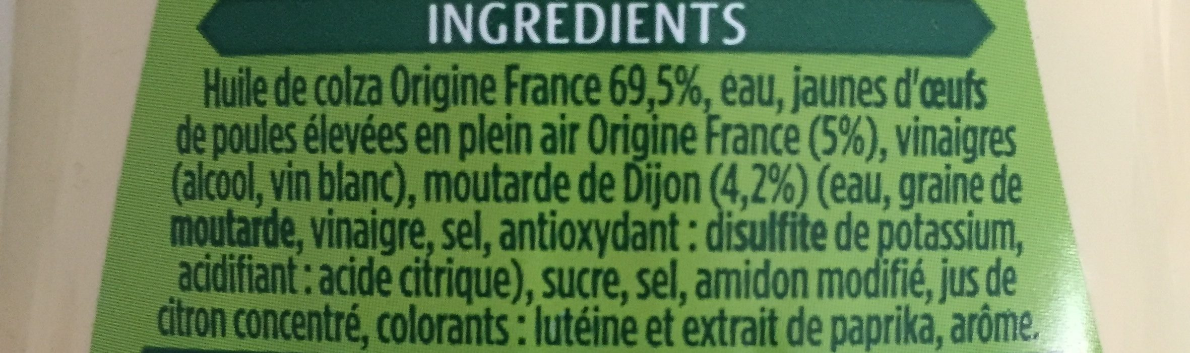 Mayonnaise Classique - Ingredienti - fr