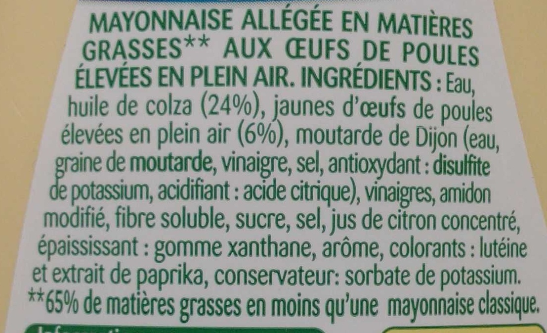 Mayonnaise légère - Ingredients