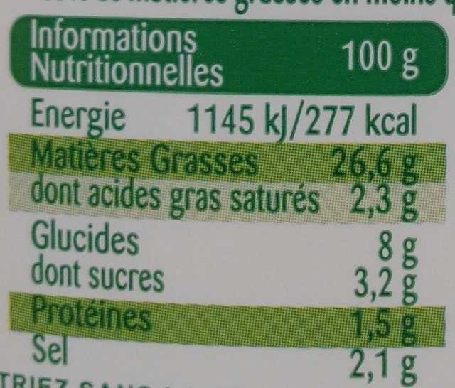 Mayonnaise légère - Nutrition facts