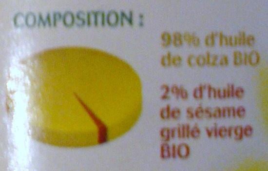 Huile bio Colza & sésame grillé - Ingrédients - fr