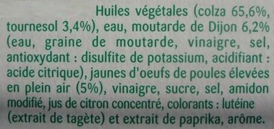 Mayonnaise Saveur Forte - Ingrédients