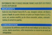 Fine & Douce - Mayonnaise sans moutarde - Ingrédients - fr