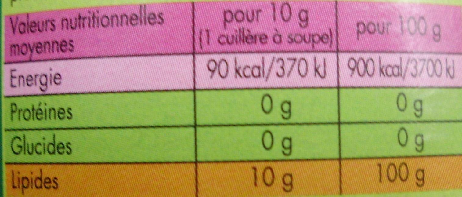 Huile d'Olive Vierge Extra - la verte Puissante - Offre saisonnière - Nutrition facts - fr