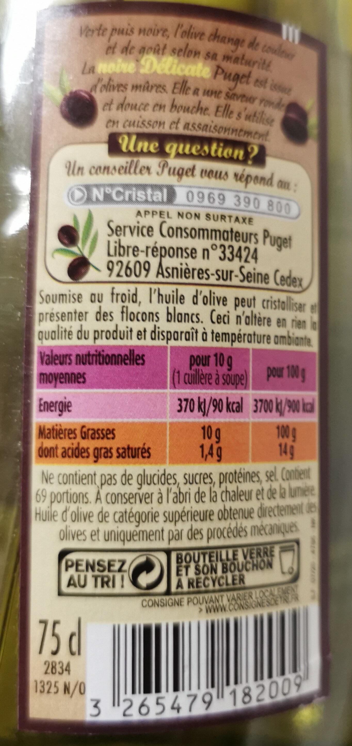 La Noire Délicate - Huile d'olive vierge extra - Ingredients - fr