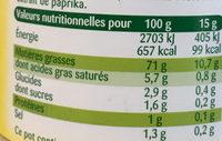 Mayonnaise Fine & Douce sans moutarde (offre saisonnière) - Nutrition facts - fr