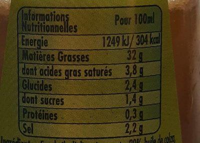 Vinaigrette légère - Nutrition facts