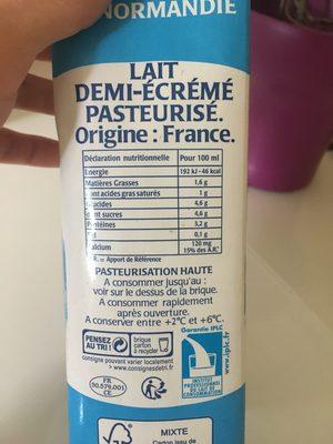 Valco lait 1/2 ecreme frais - Ingredients
