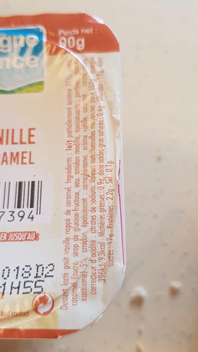 Flan, saveur vanille, nappé caramel - Ingrédients - fr