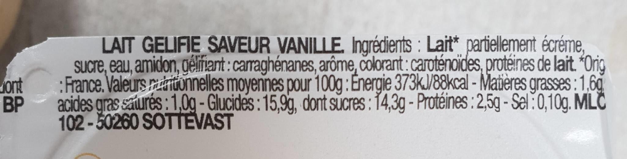 Flan, saveur vanille - Informations nutritionnelles - fr