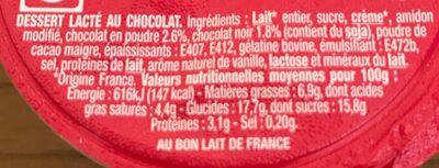 Liégeois chocolat - Ingrédients