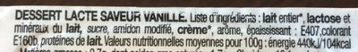 Crème dessert Saveur vanille - Ingredients